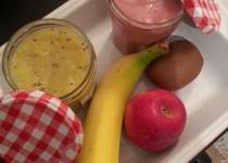 Compotes Pomme/kiwi et Banane/framboises (Sihnoh)
