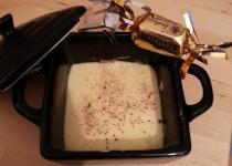 Duo de mousses chocolat blanc / chocolat praliné (Sihnoh)