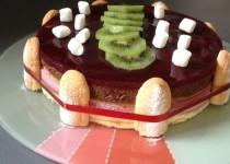 Gâteau mousse framboise, mousse chocolat, miroir framboise (Valérie Cuisine)